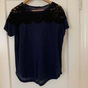 Zara lace sweater - navy with black lace